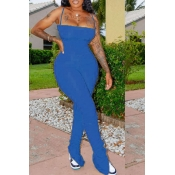lovely Sexy Fold Design Blue One-piece Jumpsuit