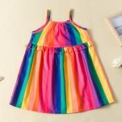 lovely Bohemian Rainbow Striped Multicolor Girl Kn