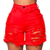 lovely Stylish Hollow-out Red Denim Shorts