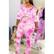 Lovely Casual Tie Dye Asymmetrical Pink Two Piece Pants Set