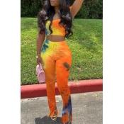Lovely Trendy Tie Dye Orange Two Piece Pants Set