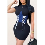 Lovely Trendy Bandage Design Black Mini Dress