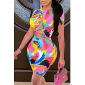 lovely Print Bandage Design Multicolor One-piece Swimsuit