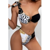lovely One Shoulder Print Black Two-piece Swimsuit