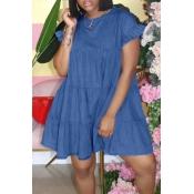 lovely Sweet O Neck Fold Design Deep Blue Mini Denim Dress