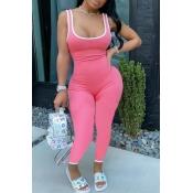 lovely Sportswear Patchwork Light Pink One-piece Jumpsuit