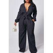 lovely Casual Lace-up Loose Black Plus Size One-pi