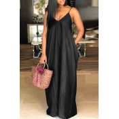 lovely Stylish V Neck Black Maxi Denim Dress