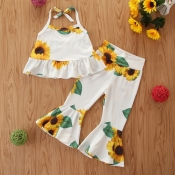 lovely Bohemian Floral Print White Girl Two-piece