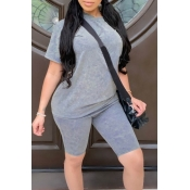 Lovely Casual Basic Grey Two-piece Shorts Set