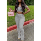 lovely Casual Dew Shoulder Grey Two-piece Pants Set