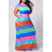 Lovely Casual O Neck Striped Rose Red Maxi Plus Si