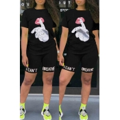 lovely Leisure O Neck Print Black Two-piece Shorts