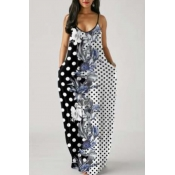 Lovely Casual Print Patchwork Black And White Maxi