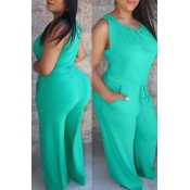 lovely Casual O Neck Lace-up Green Plus Size One-p