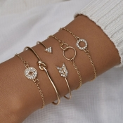 lovely Street 5-piece Gold Bracelet