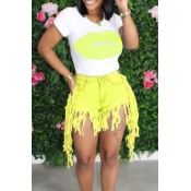 lovely Casual O Neck Print Tassel Design Yellow Two-piece Shorts Set