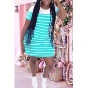 lovely Street O Neck Striped Baby Blue Mini Plus S