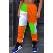 lovely Sportswear Color-lump Patchwork Green Pants