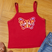 lovely Casual Butterfly Print Red Camisole