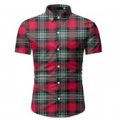 lovely Casual Turndown Collar Grid Print Red Shirt