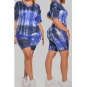 Lovely Casual Tie-dye Deep Blue Plus Size Two-piec
