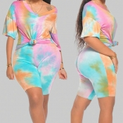 Lovely Casual Tie-dye Light Pink Plus Size Two-piece Shorts Set
