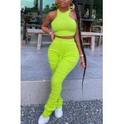 lovely Stylish Fold Design Green Two-piece Pants S