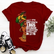 Lovely Street O Neck Letter Print Red Plus Size T-