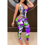 lovely Sportswear Print Hollow-out Purple One-piec