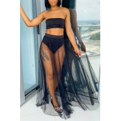 lovely See-through Black Two-piece Swimsuit