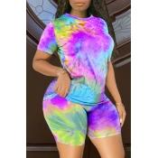 Lovely Casual O Neck Tie-dye Purple Plus Size Two-piece Shorts Set