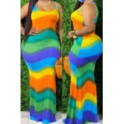 lovely Bohemian Rainbow Striped Green Maxi Plus Size Dress