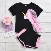 Lovely Casual O Neck Patchwork Black Girl Two-piec