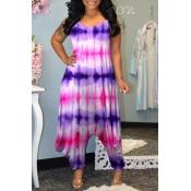 lovely Stylish Tie-dye Loose Purple One-piece Jump