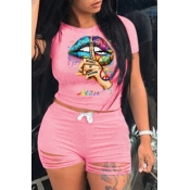 Lovely Street O Neck Lip Print Pink Two-piece Shorts Set
