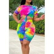 lovely Leisure O Neck Tie-dye Pink Two-piece Shorts Set