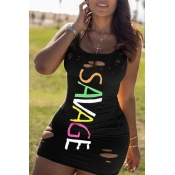 lovely Stylish U Neck Tie-dye Black Mini Dress