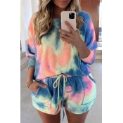 lovely Stylish Tie-dye Deep Blue Plus Size Two-pie