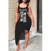 Lovely Casual Print Black Ankle Length Dress