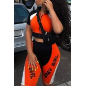lovely Sportswear Letter Patchwork Orange Two-piec