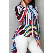 lovely Trendy Striped Asymmetrical Multicolor Blou