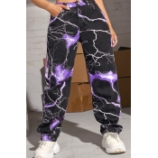 lovely Casual Print Purple Pants