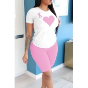 lovely Casual O Neck Print Pink Two-piece Shorts Set