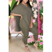 lovely Casual V Neck Side Slit Army GreenTwo-piec