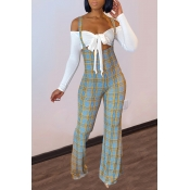Lovely Sweet Lace-up Grid Print White Two-piece Pants Set