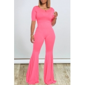 lovely Stylish Skinny Flared Pink One-piece Jumpsu