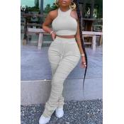 lovely Stylish Fold Design Grey Two-piece Pants Set