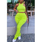 lovely Stylish Fold Design Green Plus Size Two-pie