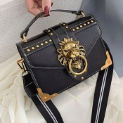 lovely Stylish Rivet Decorative Black Crossbody Bag